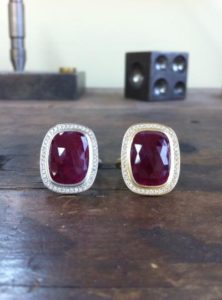 Anne Sportun Ruby and Diamond Earrings